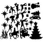 Raamfolie. Statisch. Sinterklaas en Kerst. Gecombineerde set