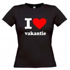 T-Shirt. Tekst: I (hart) vakantie. Bedrukt. In diverse kleuren en maten