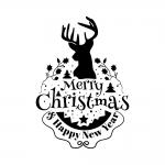 Raamsticker. Kerst. Tekst: Merry Christmas & Happy New Year