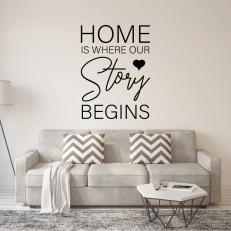 Muursticker. Tekst: Home is where our story begins. In diverse afmetingen