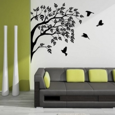 Muursticker Boomtakken met vliegende vogels. Verschillende afmetingen