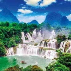 Tuindecoratie Doek zonder Ringen Tropische Bergen Bos en Waterval