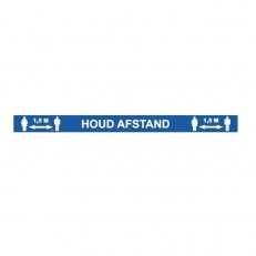 Vloersticker Lijn Houd Afstand 1,5 meter Blauw met witte letters