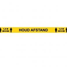 Vloersticker Lijn Houd Afstand 1,5 meter Geel met zwarte letters