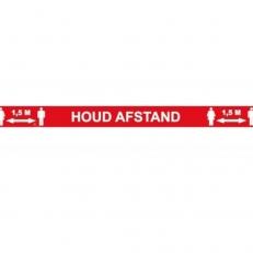 Vloersticker Lijn Houd Afstand 1,5 meter Rood met witte letters