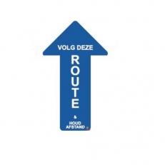 Vloersticker Volg deze route & Houd afstand Blauw met Witte Letters