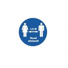Vloersticker Rond Houd Afstand 1,5 meter Blauw met witte letters