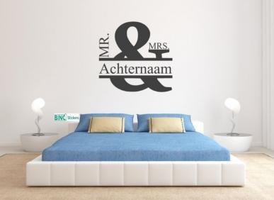 Muursticker slaapkamer mr. & mrs. inclusief achternaam QS314