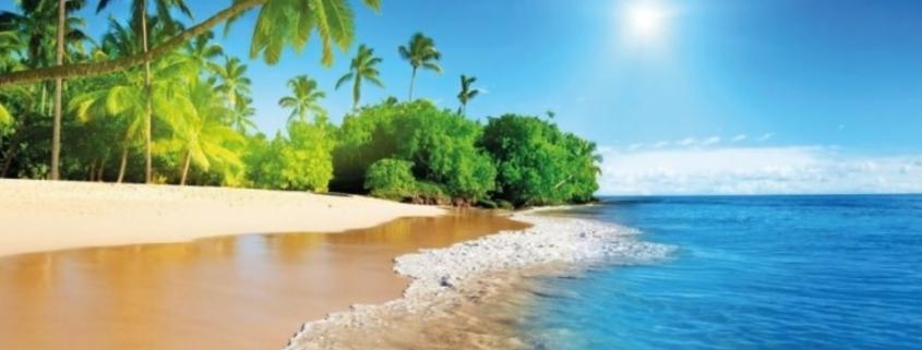 Tuindecoratie Doek met Bevestigingsringen Tropisch Strand. Mooi design