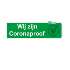 Corona Sticker Wij zijn Coronaproof. Rechthoekige sticker