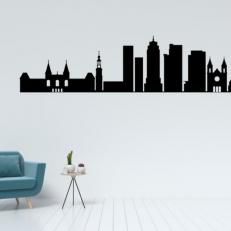 Muursticker Skyline van de stad Amsterdam View 1. Mooie muursticker