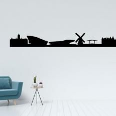 Muursticker Skyline van de stad Amsterdam View 2. Mooie muursticker