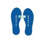 Corona Sticker Vloersticker Voetstappen Blauw Tekst: Route Set van 2