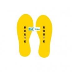 Corona Sticker Vloersticker Voetstappen Geel Tekst: Route Set van 2