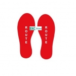 Corona Sticker Vloersticker Voetstappen Rood Tekst: Route Set van 2