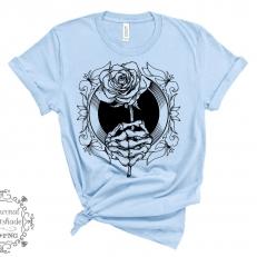 Digitaal Design Skeleton Skelet Hand Houdt een Roos Vast CF0119 - SVG