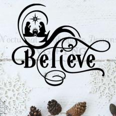 Digitaal Design Kerst Tekst: Believe 3 - SVG download voor Cricut, Cameo, laser cutters, snijplotters, enzovoort