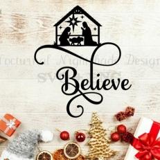 Digitaal Design Kerst Tekst: Believe – SVG download voor Cricut, Cameo, laser cutters, snijplotters, enzovoort