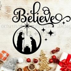 Digitaal Design Kerst Tekst: Believe - SVG download voor Cricut, Cameo, laser cutters, snijplotters, enzovoort (kopie)