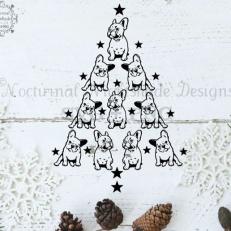 Digitaal Design Kerst Buldog Puppy kerstboom - SVG download voor Cricut, Cameo, laser cutters, snijplotters, enzovoort