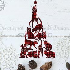 Digitaal Design Kerst Katten Kerstboom - SVG download voor Cricut, Cameo, laser cutters, snijplotters, enzovoort
