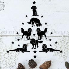 Digitaal Design Kerst King Charles Puppy kerstboom - SVG download voor Cricut, Cameo, laser cutters, snijplotters, enzovoort
