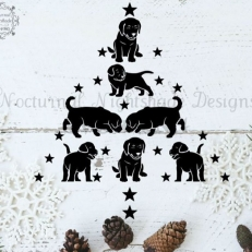 Digitaal Design Kerst Labrador Puppy kerstboom - SVG download voor Cricut, Cameo, laser cutters, snijplotters, enzovoort