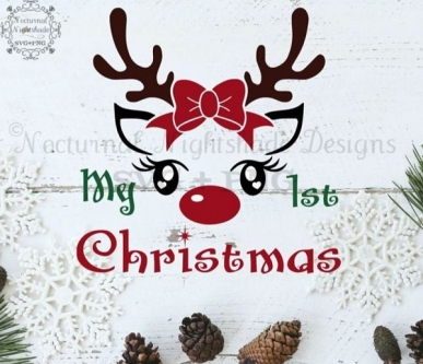 Digitaal Design Kerst Tekst: My 1st Christmas – SVG download voor Cricut, Cameo, laser cutters, snijplotters, enzovoort