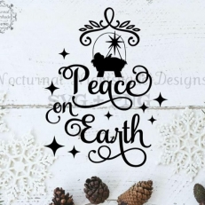 Digitaal Design Kerst Tekst: Peace on earth – SVG download voor Cricut, Cameo, laser cutters, snijplotters, enzovoort