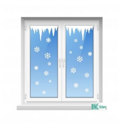 Raamfolie Statisch Kerst Winter Ijspegels en Sneeuwvlokken QS375