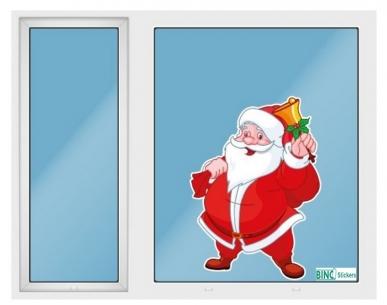 Raamfolie Statisch Kerstman met bel in de hand QS371