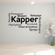 Muursticker Tekst: Kapper Permanent Wassen Spoeling Verven...etc. K390A
