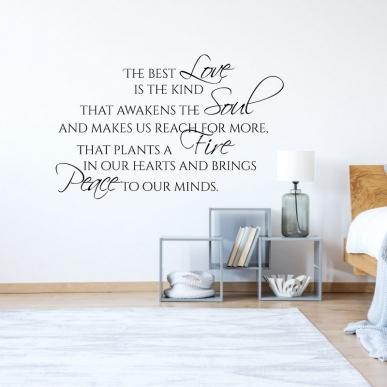 Muursticker Tekst: The Best Love Is The Kind That Awakens...enz. K662A