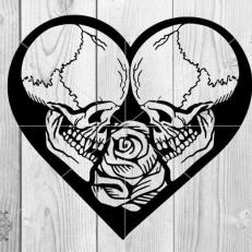 Digitaal Design Schedels Skulls Met Roos en Hart