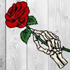 Digitaal Design Skeleton Skelet Hand met Roos