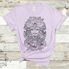 Digitaal Design Skull Schedel Vrouw Met Bloemen en Schedels