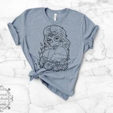 Digitaal Design Skull Schedel Vrouw Met Bloemen op de Arm