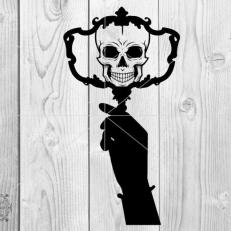 Digitaal Design Skull Schedel Vrouw Met Spiegel in de Hand