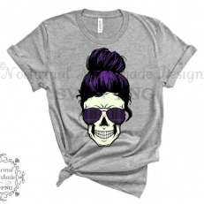 Digitaal Design Skull Schedel Vrouw met Zonnebril en Haarknoet