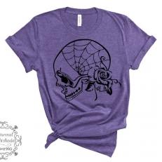 Digitaal Design Skull Schedel Zijaanzicht Met Spinnenweb en Roos