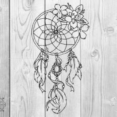 Digitaal Design Spiritualiteit Dromenvanger Bloemen en Veren