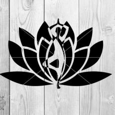 Digitaal Design Spiritualiteit Lotus met Yoga Pose
