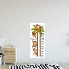 Groeimeter Muurdecoratie (Inclusief eigen naam) Apen in Palmboom QS412