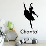 Muursticker Ballerina Inclusief Eigen baby- of kindnaam E030